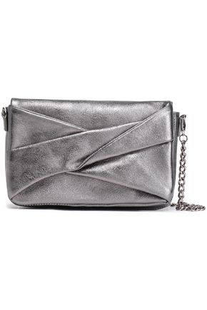 HALSTON HERITAGE Pleated metallic textured-leather shoulder bag