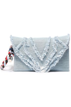 ELENA GHISELLINI Selina frayed denim clutch