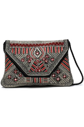 ANTIK BATIK Embellished canvas and suede shoulder bag