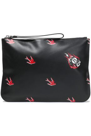 McQ Alexander McQueen Printed textured-leather pouch