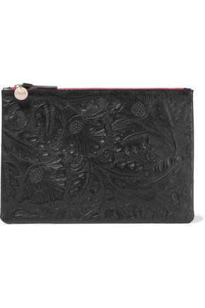 CLARE V. Embossed leather pouch