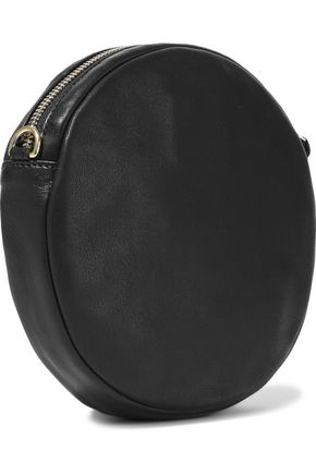 CLARE V. Le Cercle embroidered canvas and leather shoulder bag