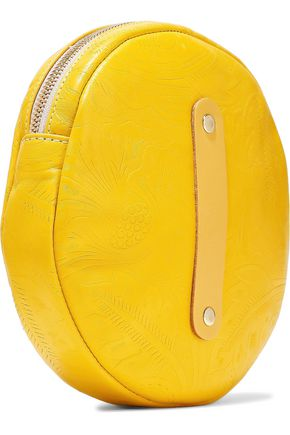 CLARE V. Circle embossed leather clutch