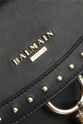 BALMAIN Tasseled studded leather shoulder bag