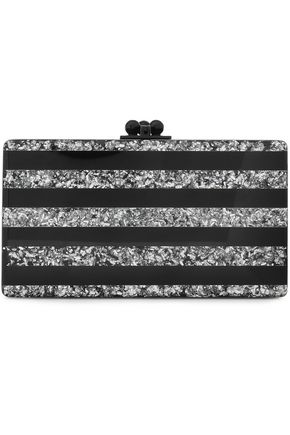 EDIE PARKER Glittered striped Perspex clutch