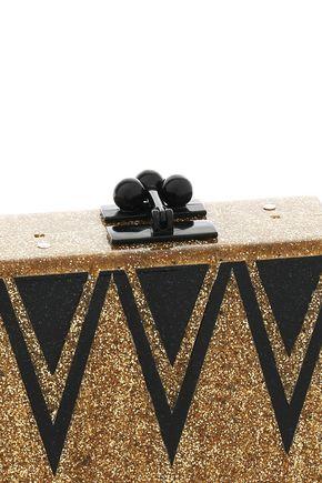 EDIE PARKER Glittered printed Perspex box clutch