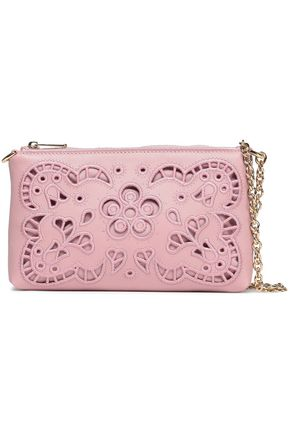 DOLCE & GABBANA Embroidered laser-cut leather clutch