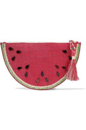 KAYU Frutta embellished woven straw clutch