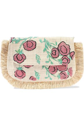 KAYU Amelia fringed embroidered woven straw shoulder bag
