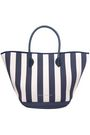 EDDIE HARROP Leather-trimmed striped canvas tote