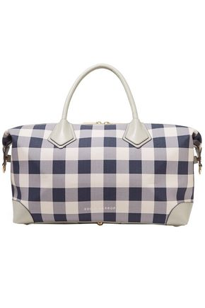 EDDIE HARROP Leather-trimmed checked canvas weekend bag