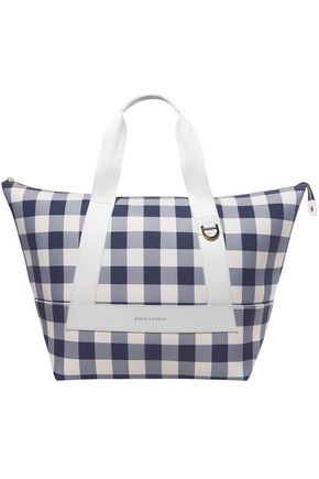 EDDIE HARROP Leather-trimmed checked canvas tote