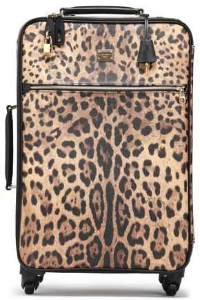 DOLCE & GABBANA Leopard-print textured-leather suitcase