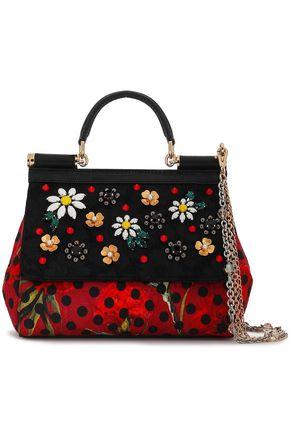 DOLCE & GABBANA Embellished lizard-effect leather shoulder bag