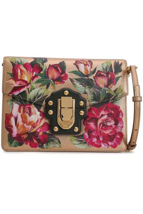 DOLCE & GABBANA Studded floral-print metallic textured-leather shoulder bag