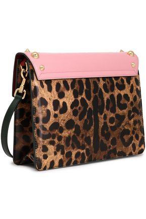 DOLCE & GABBANA Embellished printed glossed-leather shoulder bag