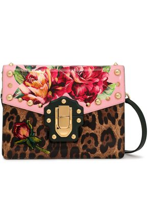 DOLCE & GABBANA Embellished printed glossed-leather shoulder bag