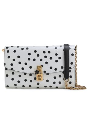 DOLCE & GABBANA Embellished polka-dot textured-leather shoulder bag
