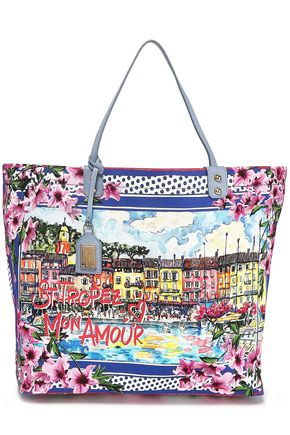 DOLCE & GABBANA St. Tropez leather-trimmed printed canvas tote