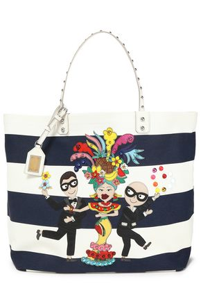 DOLCE & GABBANA Flamenco leather-trimmed appliquéd striped canvas tote