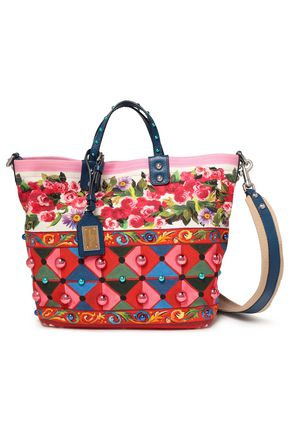 DOLCE & GABBANA Beatrice leather-trimmed studded printed canvas tote