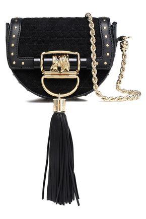BALMAIN Leather-trimmed quilted suede shoulder bag
