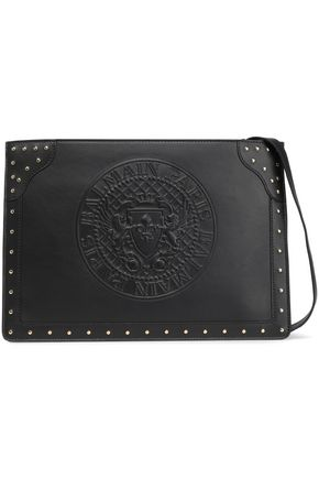 BALMAIN Studded embossed leather pouch