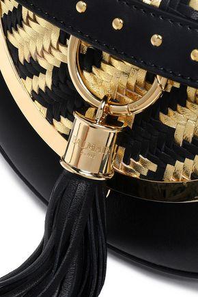 BALMAIN Houndstooth-paneled tasseled leather shoulder bag