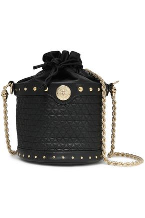 BALMAIN Studded quilted leather shoulder bag
