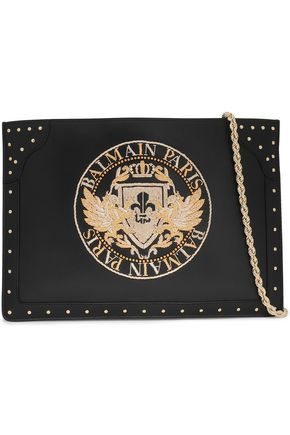 BALMAIN Studded embroidered leather clutch