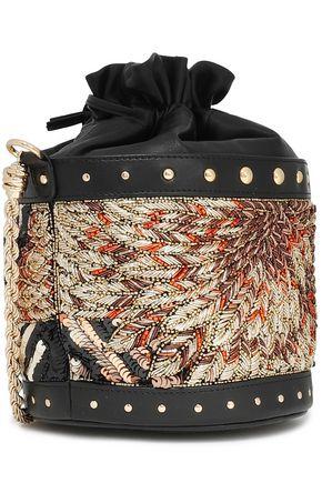 BALMAIN Embellished leather bucket bag
