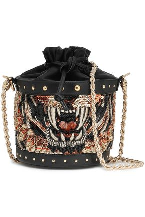 BALMAIN Embellished leather bucket bag