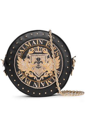 BALMAIN 装飾付き レザー ショルダーバッグ