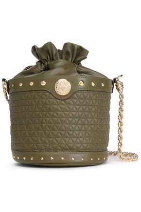 BALMAIN Studded quilted leather shoulder bag
