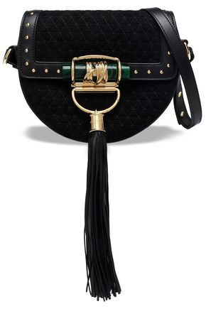 BALMAIN Leather-trimmed quilted suede shoulder bag