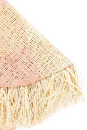 KAYU South Beach fringe-trimmed checked woven straw clutch