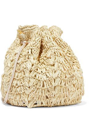 KAYU Bella tasseled woven straw bucket bag
