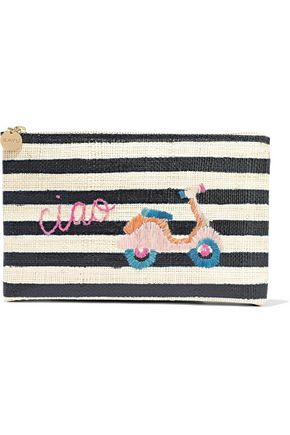 KAYU Vespa embroidered striped woven straw pouch