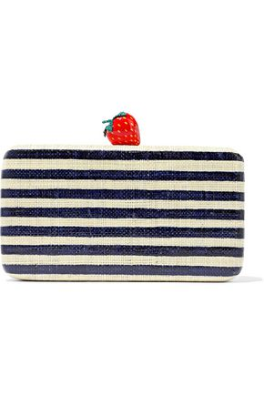 KAYU Veda striped woven straw clutch