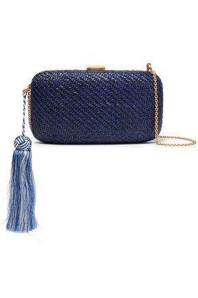KAYU Charlotte tassel-embellished woven straw clutch