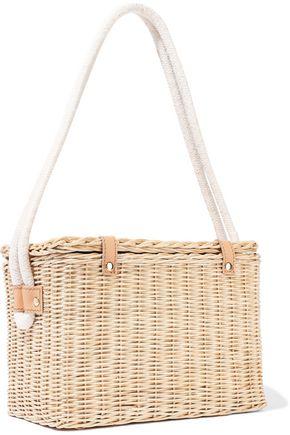 KAYU Mia leather-trimmed wicker shoulder bag