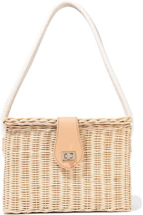 KAYU Mia leather-trimmed wicker shoulder bag