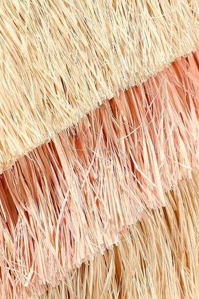 KAYU Pinata mini fringed two-tone woven straw tote