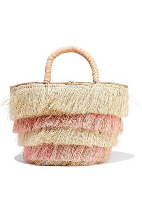 KAYU Pinata mini fringed two-tone woven straw tote