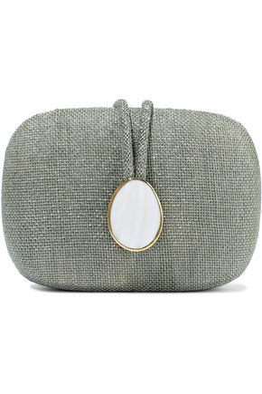 KAYU Adeline mother of pearl-embellished straw clutch