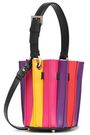 SARA BATTAGLIA Color-block pleated leather bucket bag