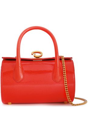 OSCAR DE LA RENTA Textured patent-leather shoulder bag