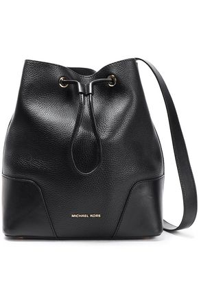 MICHAEL MICHAEL KORS Paneled smooth and textured-leather shoulder bag
