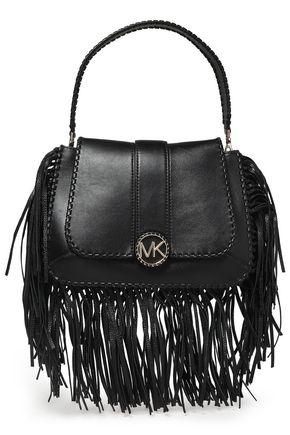 MICHAEL MICHAEL KORS Lillie fringe-trimmed logo-embellished leather shoulder bag