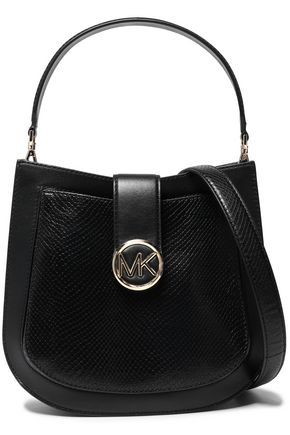 MICHAEL MICHAEL KORS Smooth and snake-effect leather shoulder bag